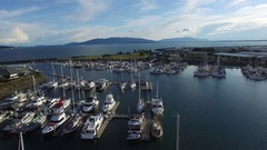 Flying over the marina Stock Footage