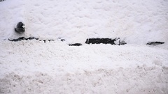 Full snow covered cars are seen during a heavy snowfall in the city Stock Footage