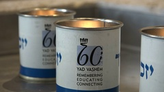 Candles remembering victims of holocaust at Yad Vashem memorial in Israel Stock Footage