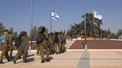 Young Israeli soldiers, Herzl monument, political Zionism, Jerusalem Israel Stock Footage