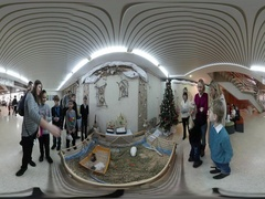 360 vr Video Christmas in Kiev Rabbits Feeding Exhibition Families Come Are Stock Footage