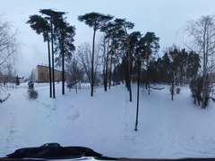 360 vr Video in a City Park in Cold Weather. Unpopulated Stock Footage