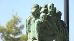 Haunting statues in the Yad Vashem holocaust memorial in Jerusalem, Israel Stock Footage