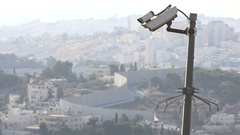 Jerusalem safety and security, cameras and separation barrier Israel Stock Footage