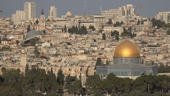 Beautiful skyline of old and new city of Jerusalem, Israel Stock Footage