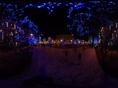 360 vr Video New Year Kiev View of Evening Street Lit by Blue Lights Stock Footage