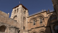 View of the beautiful Church of the Holy Sepulchre in the old city of Jerusalem Stock Footage