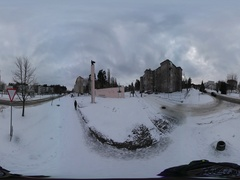 360 vr Video New Year in Slavutich Small Town Everyday Life Wintry Provintial Stock Footage