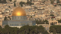 Beautiful view towards the Dome of the Rock, Temple Mount in Jerusalem, Israel Stock Footage