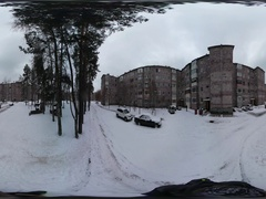 360 vr Video Cars Are Parked at Residential Houses Wintry Provintial Cityscape Stock Footage