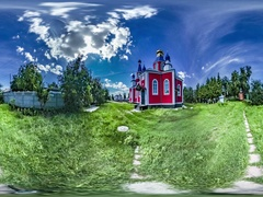 360 vr Video Orthodox Church at the Landscape Sun Shines Brightly Green Grass Stock Footage