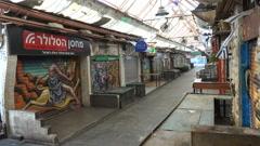 Closed shops at Mahane Yehuda market on religious Shabbat holiday Jerusalem Stock Footage