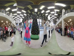 360 vr Video New Year Celebration in Kiev Teenagers Animators Dancing For Kids Stock Footage