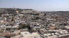 Muezzins call for Friday prayer over historic old Jerusalem, Israel Stock Footage