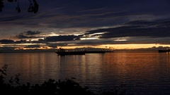 Motion of beautiful sunset view at Stanley Park in Vancouver BC Canada Stock Footage