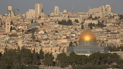 Panoramic view of Jerusalem skyline, old and modern city, urban Israel Stock Footage