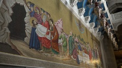 Mosaic inside the Church of Holy Sepulchre in Jerusalem Stock Footage