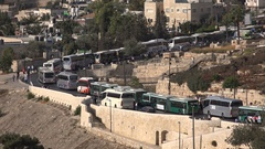 Traffic jam of buses during a major Jewish holiday (Sukkot) in Jerusalem, Israel Stock Footage