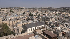 Churches, mosques, residential buildings in skyline old city Jerusalem Stock Footage