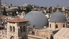 Dome and tower of the Church of the Holy Sepulchre in Jerusalem Stock Footage