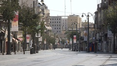 Quiet streets of downtown modern Jerusalem on the weekly Shabbat holiday Stock Footage