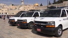 Heavy security at Western Wall, police vehicles deployed in Jerusalem Israel Stock Footage