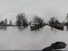 360Vr Video Trampled Road Covered With Snow Wintry Landscape Way to the Village Stock Footage