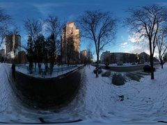 360 vr Video Cityscape Chernihiv in Christmas People on a Street Wintry Stock Footage