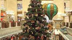 Christmas Decoration Store Children's World in Moscow Stock Footage