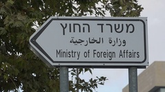 Ministry of Foreign Affairs direction sign in Jerusalem, Israel Stock Footage