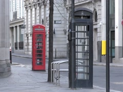 Black and red telephone box. Stock Footage