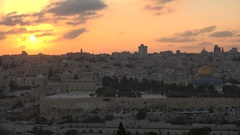 View of the Temple Mount, Dome of the Rock, old Jerusalem at sunset Stock Footage