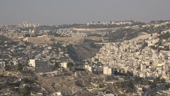 Overview of Jerusalem, view of Temple Mount and modern residential neighborhood Stock Footage