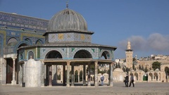 Structure at the Temple Mount next to the Dome of the Rock in Jerusalem Stock Footage