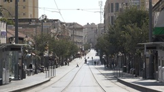 Empty main Jaffa street during religious Shabbat holiday in Jerusalem, Israel Stock Footage