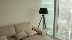 Interior of the Apartment. Sofa and Lamp Stock Footage