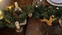 Festive Table. Table Setting Stock Footage