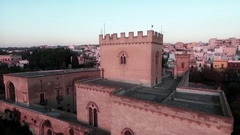 A tower of a medieval castle in a small village in the south of the country. Stock Footage