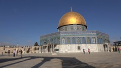Beautiful view of golden Dome of the Rock on Temple Mount in Jerusalem Stock Footage