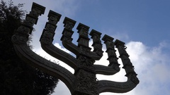 Menorah statue in front of the Knesset in Jerusalem, Israel Stock Footage