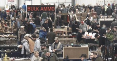 Gun Show - Large Crowd - Wide Shot - 4k Stock Footage