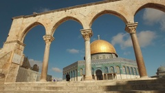 Steadicam shot arches of golden Dome of the Rock in Jerusalem, Israel Stock Footage