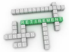 3d image Retirement word cloud concept Stock Illustration