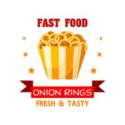 Onion Rings Fast Food meal vector emblem Stock Illustration