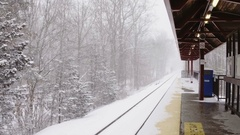 Railway Platform covered by snow Stock Footage