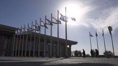 Silhouette of Jewish Orthodox men walking to Knesset, government Israel Stock Footage
