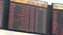 Schedule board departure hall Ben Gurion International Airport Tel Aviv, Israel Stock Footage