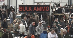 Gun Show - Wide Shot of Crowd - Bulk Ammo - 4k Stock Footage