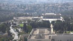 Knesset building in Jerusalem, Israel national legislature parliament government Stock Footage