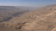 Beautiful panoramic view of mountains of central Jordan in the Middle East Stock Footage